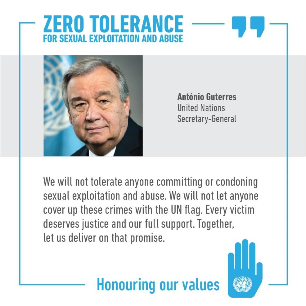 Zero Tolerance statement by Antonio Guterres